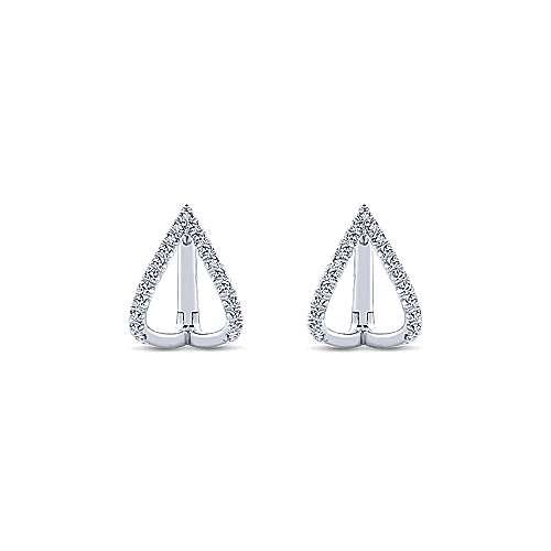14k White Gold Inverted V Diamond Huggie Earrings angle 3