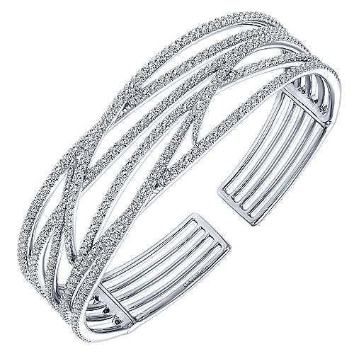 14k White Gold Kaslique Bangle angle 2