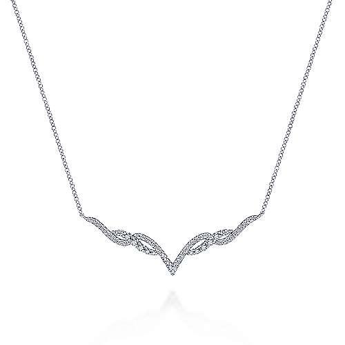 14k White Gold Kaslique Bar Necklace angle 1