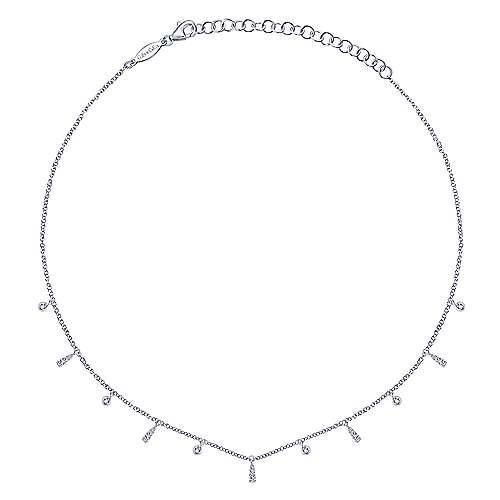 14k White Gold Kaslique Choker Necklace angle 2