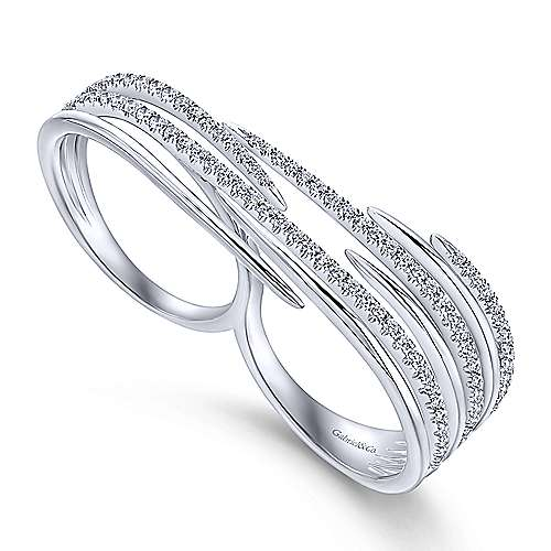 14k White Gold Kaslique Double Ring Ladies' Ring angle 3