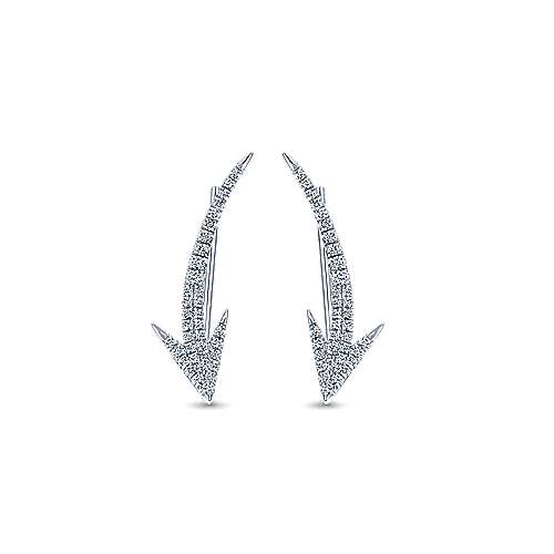 14k White Gold Kaslique Ear Climber Earrings