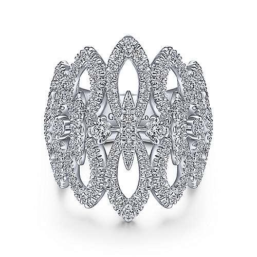 14k White Gold Kaslique Fashion Ladies' Ring