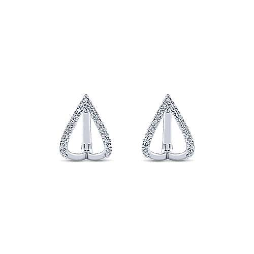 14k White Gold Kaslique Huggie Earrings angle 3