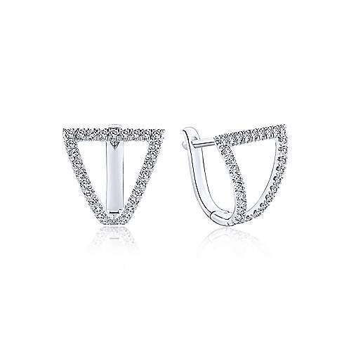 14k White Gold Kaslique Huggie Earrings angle 1