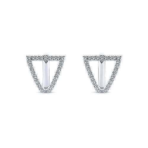 14k White Gold Kaslique Huggie Earrings angle 3