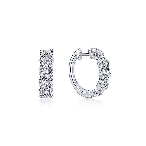 14k White Gold Kaslique Huggie Earrings angle 1
