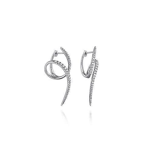 Gabriel - 14k White Gold Kaslique Huggie Earrings