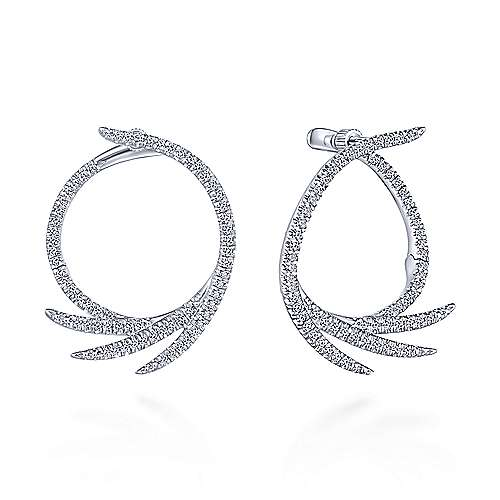 14k White Gold Kaslique Intricate Hoop Earrings angle 1