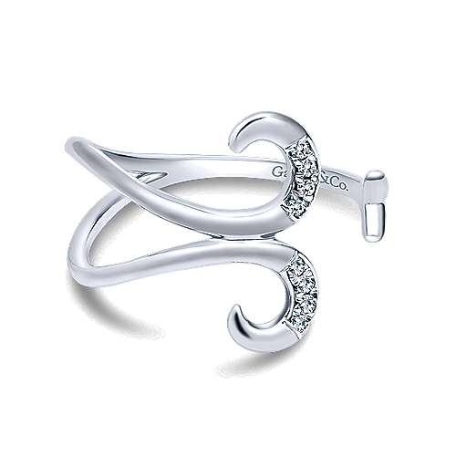 14k White Gold Kaslique Midi Ladies' Ring angle 1