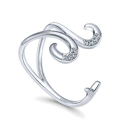 14k White Gold Kaslique Midi Ladies' Ring angle 3
