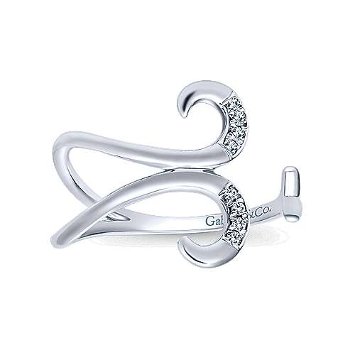 14k White Gold Kaslique Midi Ladies' Ring angle 4