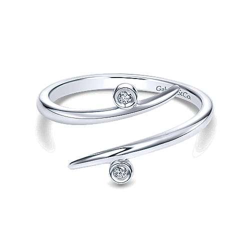 14k White Gold Kaslique Midi Ladies' Ring angle 1
