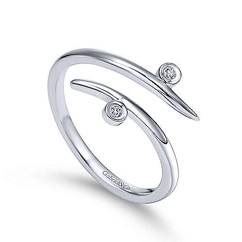 14k White Gold Kaslique Midi Ladies' Ring angle 3