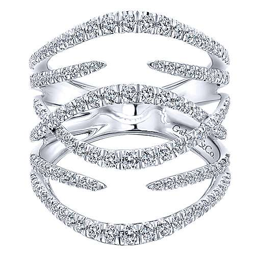 Gabriel - 14k White Gold Kaslique Twisted Ladies' Ring