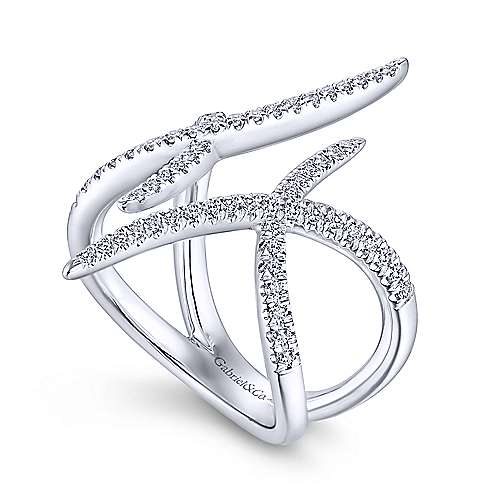 14k White Gold Kaslique Twisted Ladies' Ring angle 3