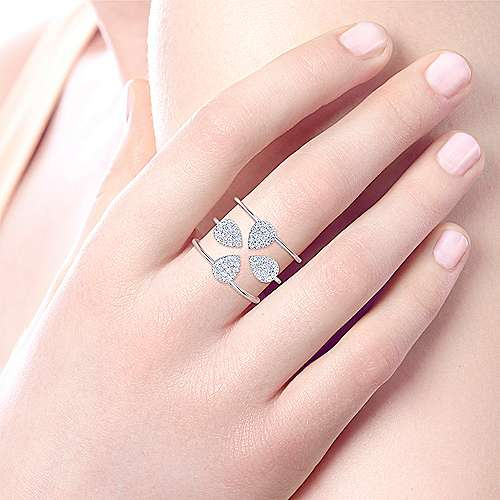14k White Gold Kaslique Wide Band Ladies' Ring angle 5