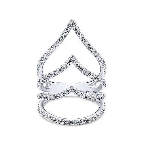 14k White Gold Kaslique Wide Band Ladies' Ring angle 1
