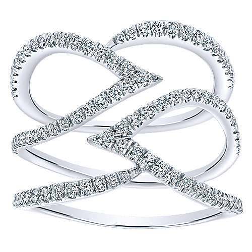 14k White Gold Kaslique Wide Band Ladies' Ring angle 4