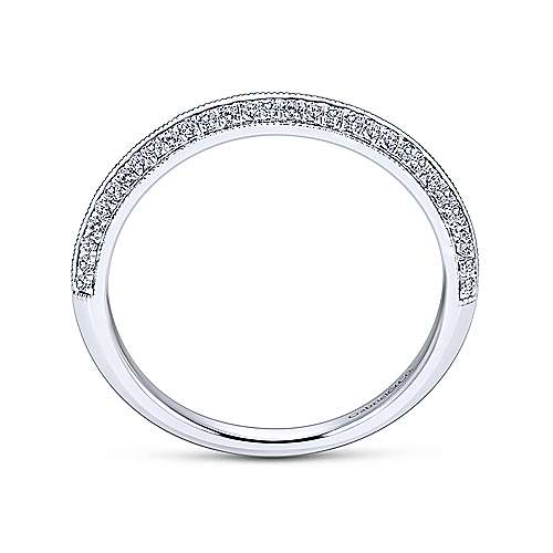 14k White Gold Knife Edge Diamond Anniversary Band angle 2