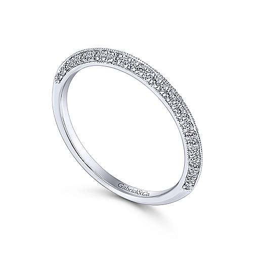 14k White Gold Knife Edge Diamond Anniversary Band angle 3