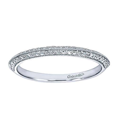 14k White Gold Knife Edge Diamond Anniversary Band angle 5