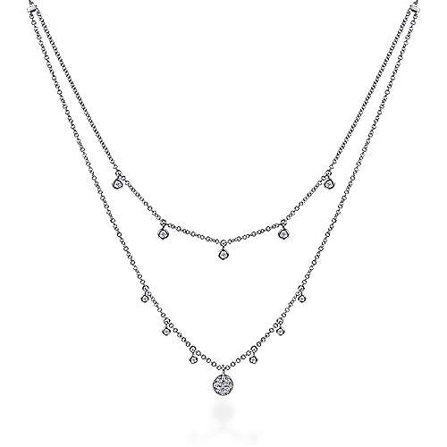 Gabriel - 14k White Gold Layered Diamond Charm Fashion Necklace