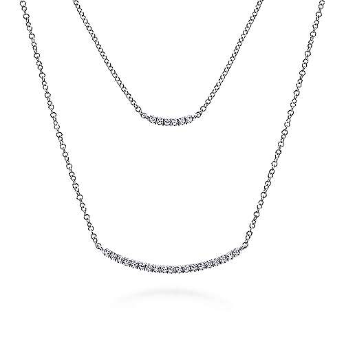Gabriel - 14k White Gold Layered Double Diamond Bar Necklace