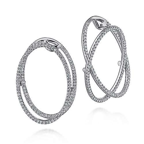 14k White Gold Layered Double Diamond Intricate Hoop Earrings