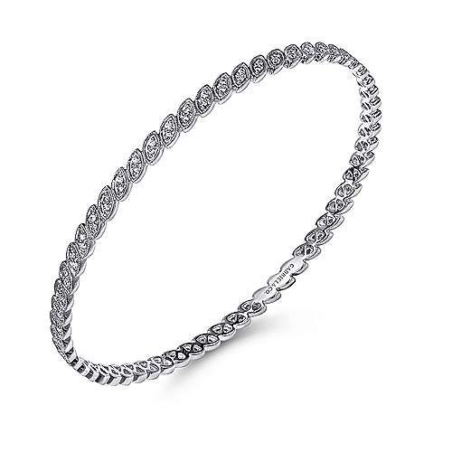 14k White Gold Lusso Bangle angle 2