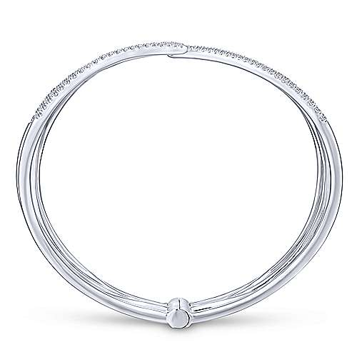 14k White Gold Lusso Bangle angle 3