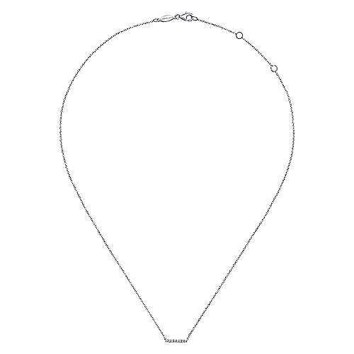 14k White Gold Lusso Bar Necklace angle 2