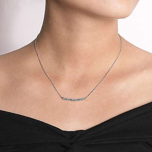 14k White Gold Lusso Bar Necklace angle 3