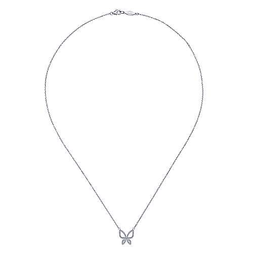 14k White Gold Lusso Butterfly Necklace angle 2