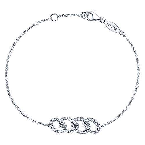 14k White Gold Lusso Chain Bracelet angle 1