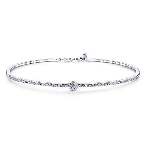 14k White Gold Lusso Choker Necklace angle 1