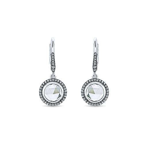 14k White Gold Lusso Color Drop Earrings angle 1