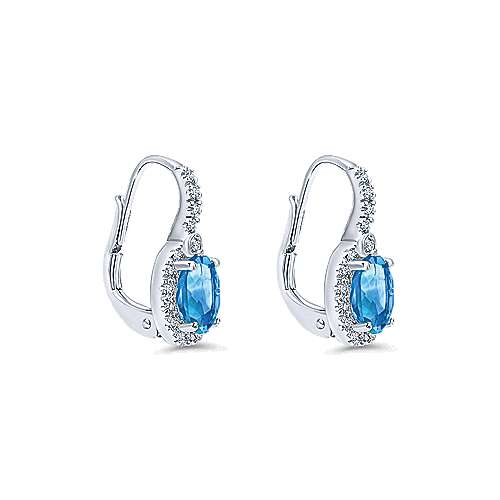 14k White Gold Lusso Color Drop Earrings angle 2