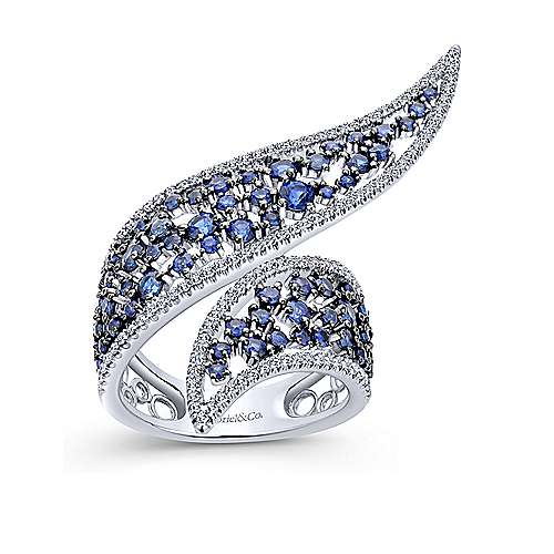 14k White Gold Lusso Color Fashion Ladies' Ring angle 4