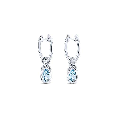 14k White Gold Lusso Color Huggie Drop Earrings angle 2