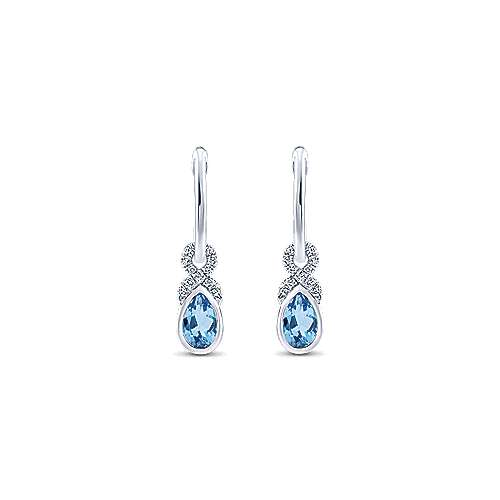 14k White Gold Lusso Color Huggie Drop Earrings angle 1