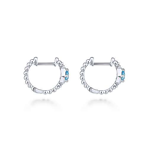 14k White Gold Lusso Color Huggie Earrings angle 2