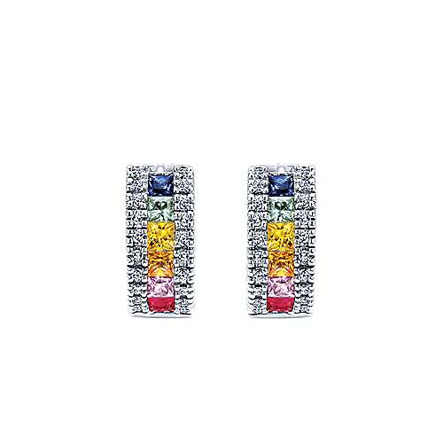 14k White Gold Lusso Color Huggie Earrings angle 3