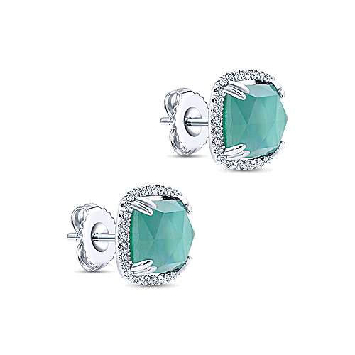 14k White Gold Lusso Color Stud Earrings angle 2