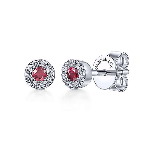 14k White Gold Lusso Color Stud Earrings