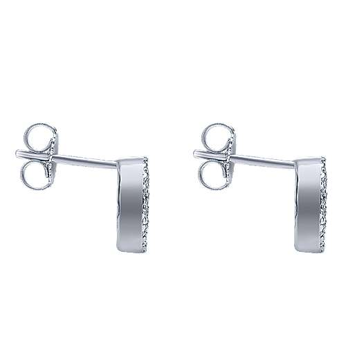 14k White Gold Lusso Color Stud Earrings angle 3