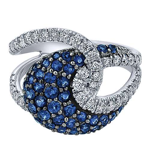 Gabriel - 14k White Gold Lusso Color Twisted Ladies' Ring