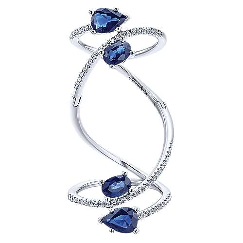 14k White Gold Lusso Color Twisted Ladies' Ring