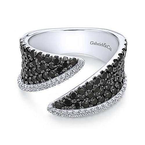 14k White Gold Lusso Color Wide Band Ladies' Ring