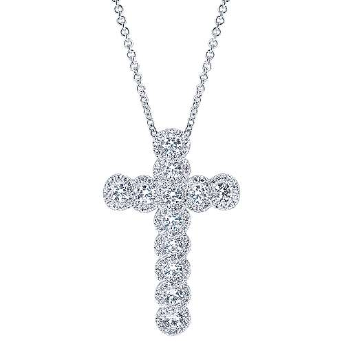 14k White Gold Lusso Cross Necklace